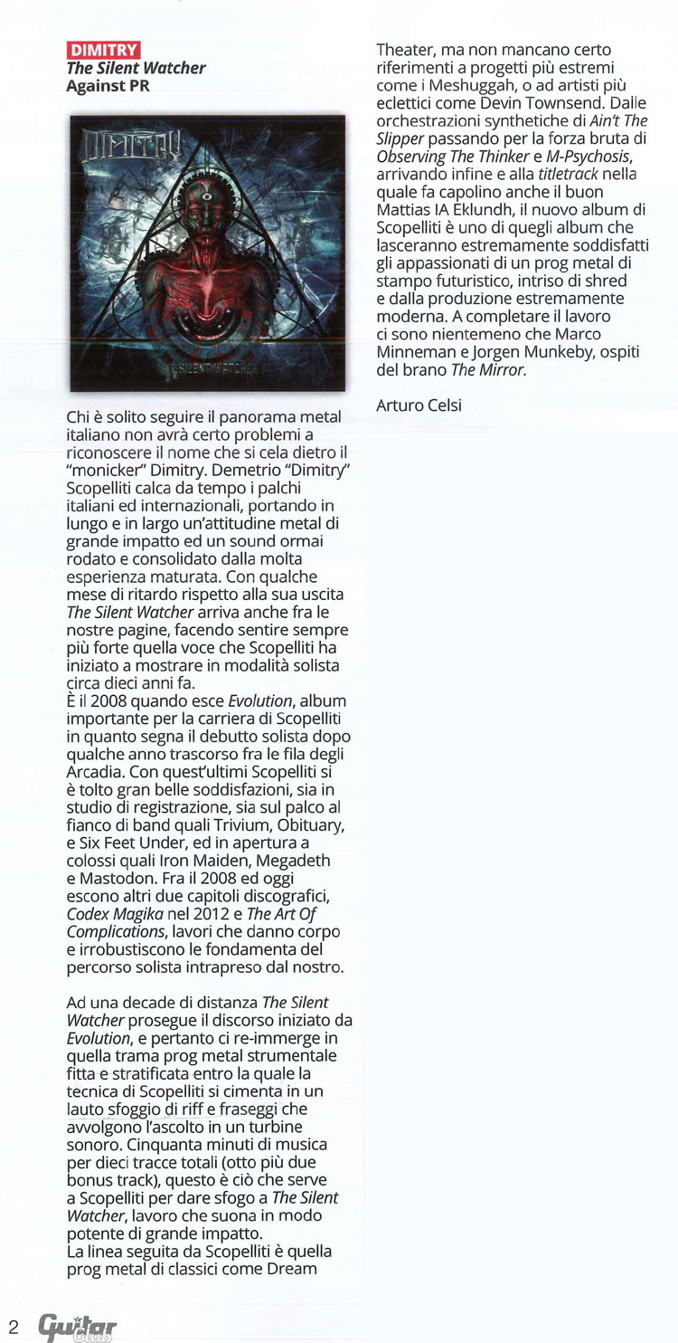 Article on Guitar Club (Italian Newspaper), May 2019