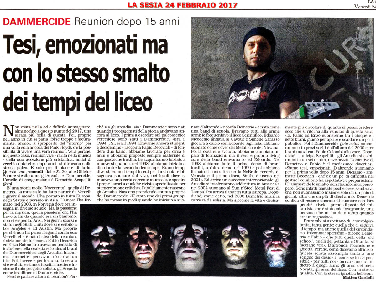 New interview with Demetrio «Dimitry» Scopelliti -<br> La Sesia, Italian Newspaper Feb 24, 2017