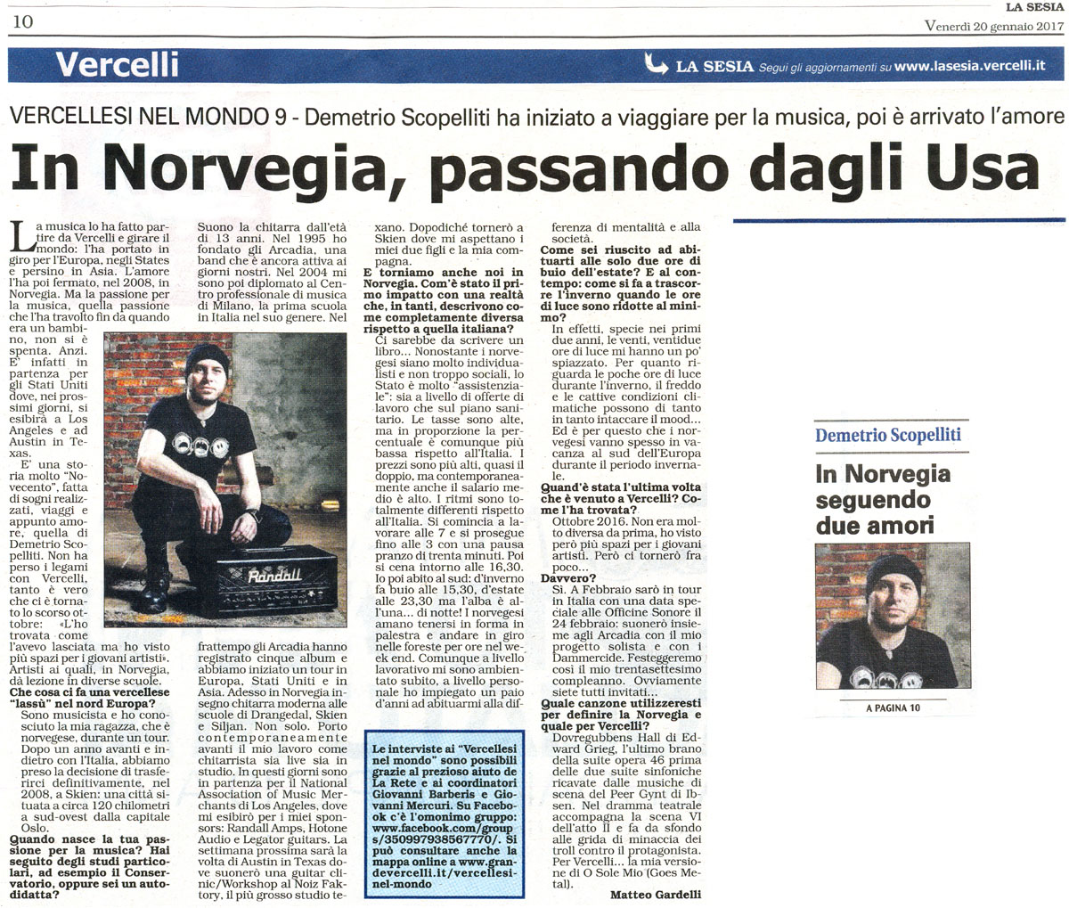 Interview in Italian with Demetrio «Dimitry» Scope<br>lliti - La Sesia (Italian Newspaper) Jan 20, 2017