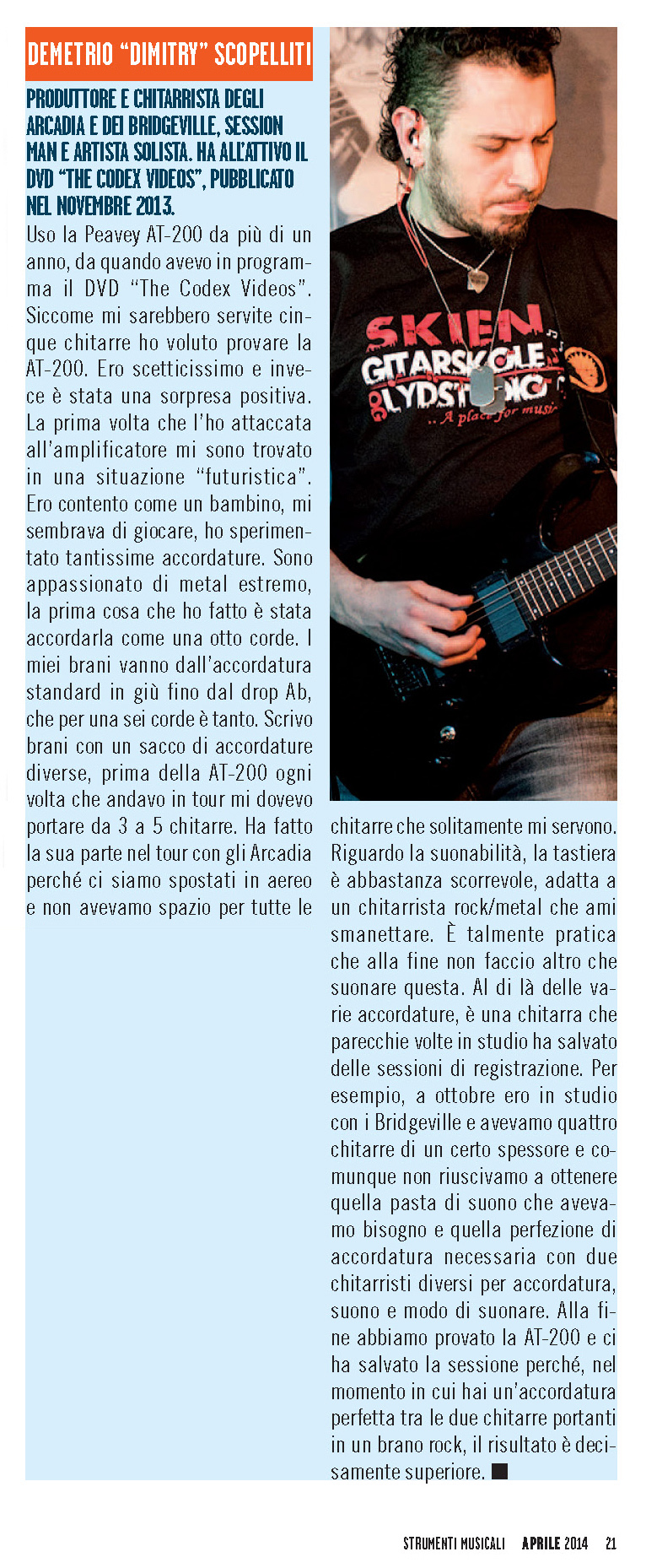 Interview with Demetrio 'Dimitry' Scopelliti on ST<br>RUMENTI MUSICALI (p. 21) - April 2014
