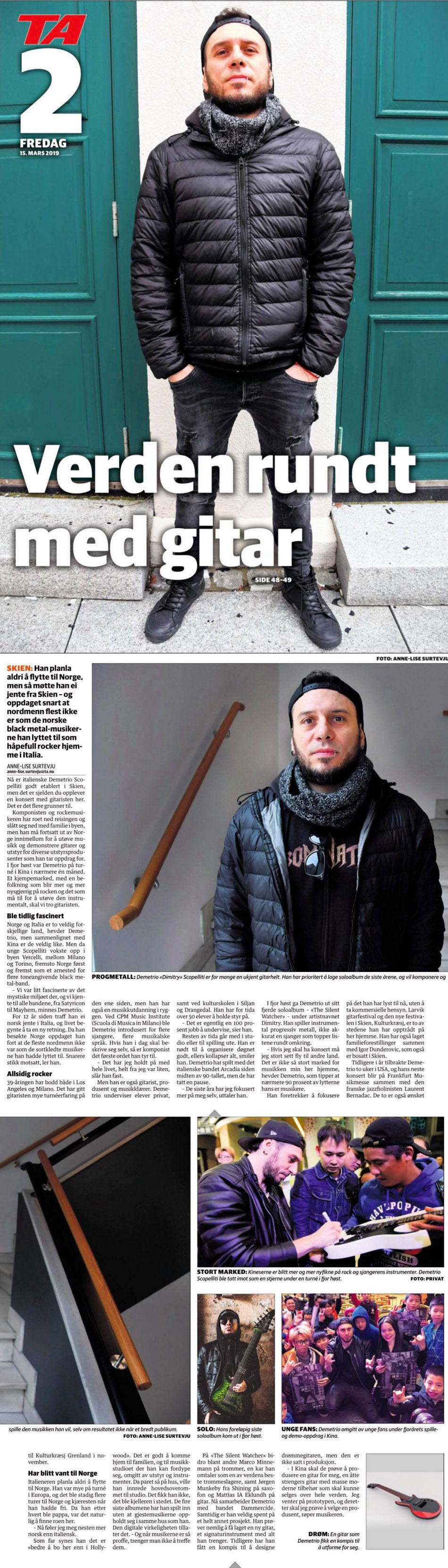 TA, Norwegian newspaper (March 15, 2019) - Verden <br>rundt med gitar (Interview with Dimitry)