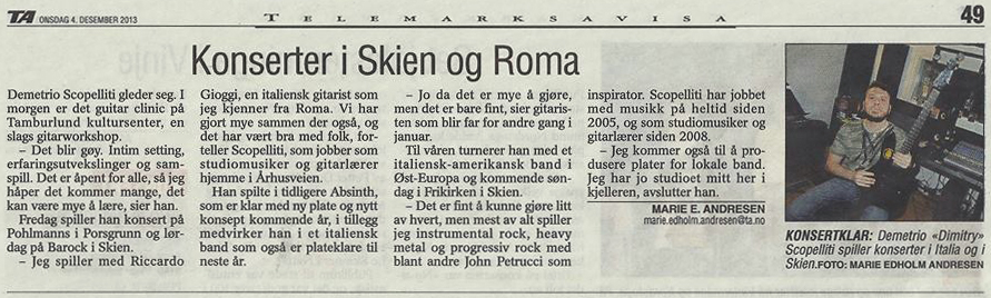 Interview on TA - Telemarks Avisa (Norwegian Newsp<br>aper) - Dec 4, 2013