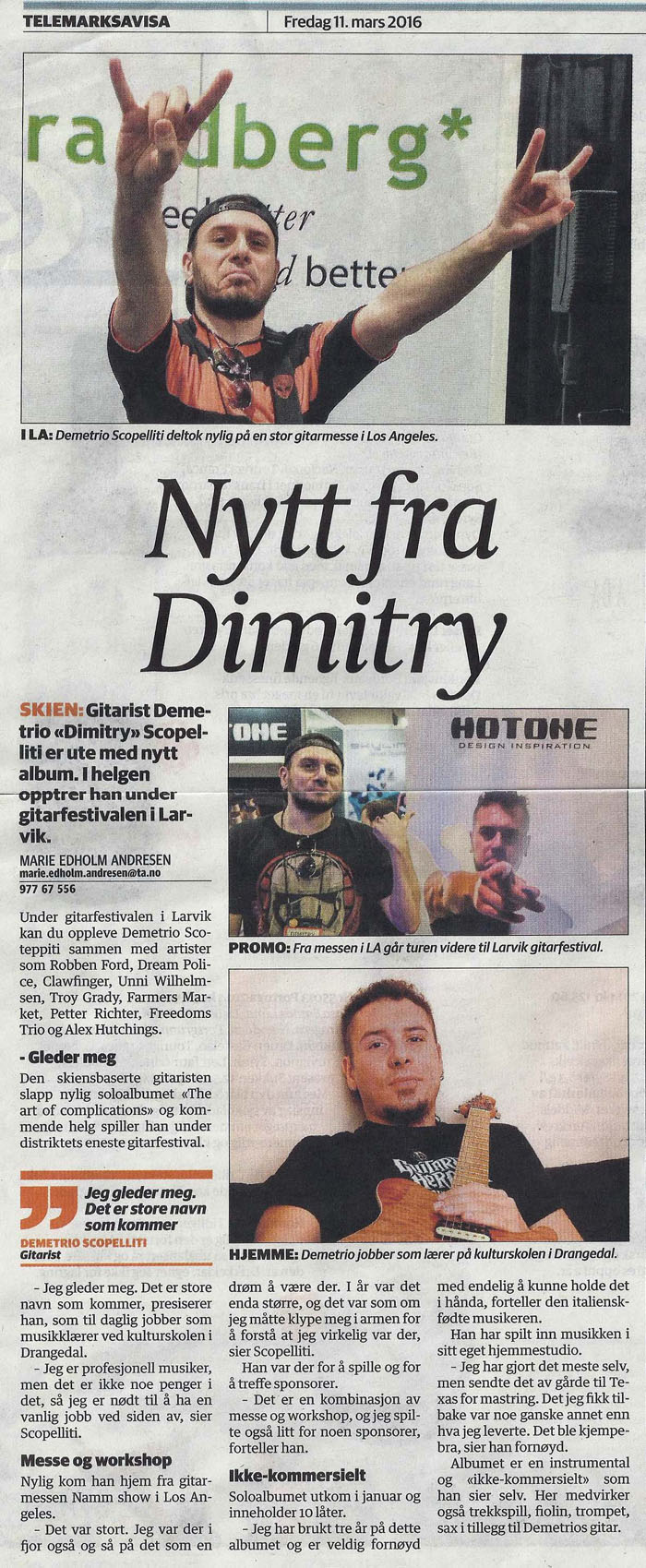 Article on TELEMARKSAVISA Norwegian Newspaper - March 11, 2016