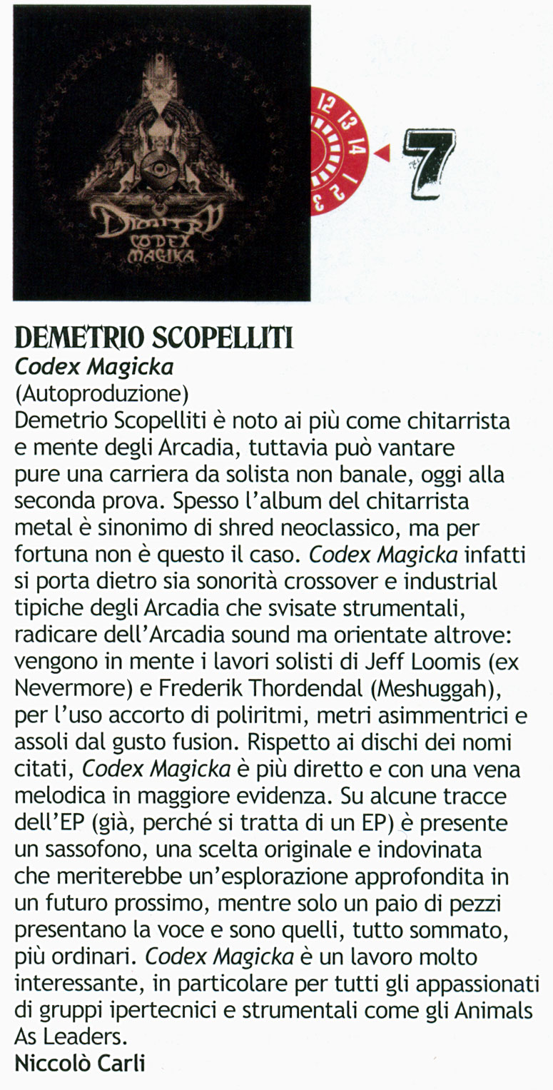 Codex Magika review - Rock Hard Italy December 2012 p.112