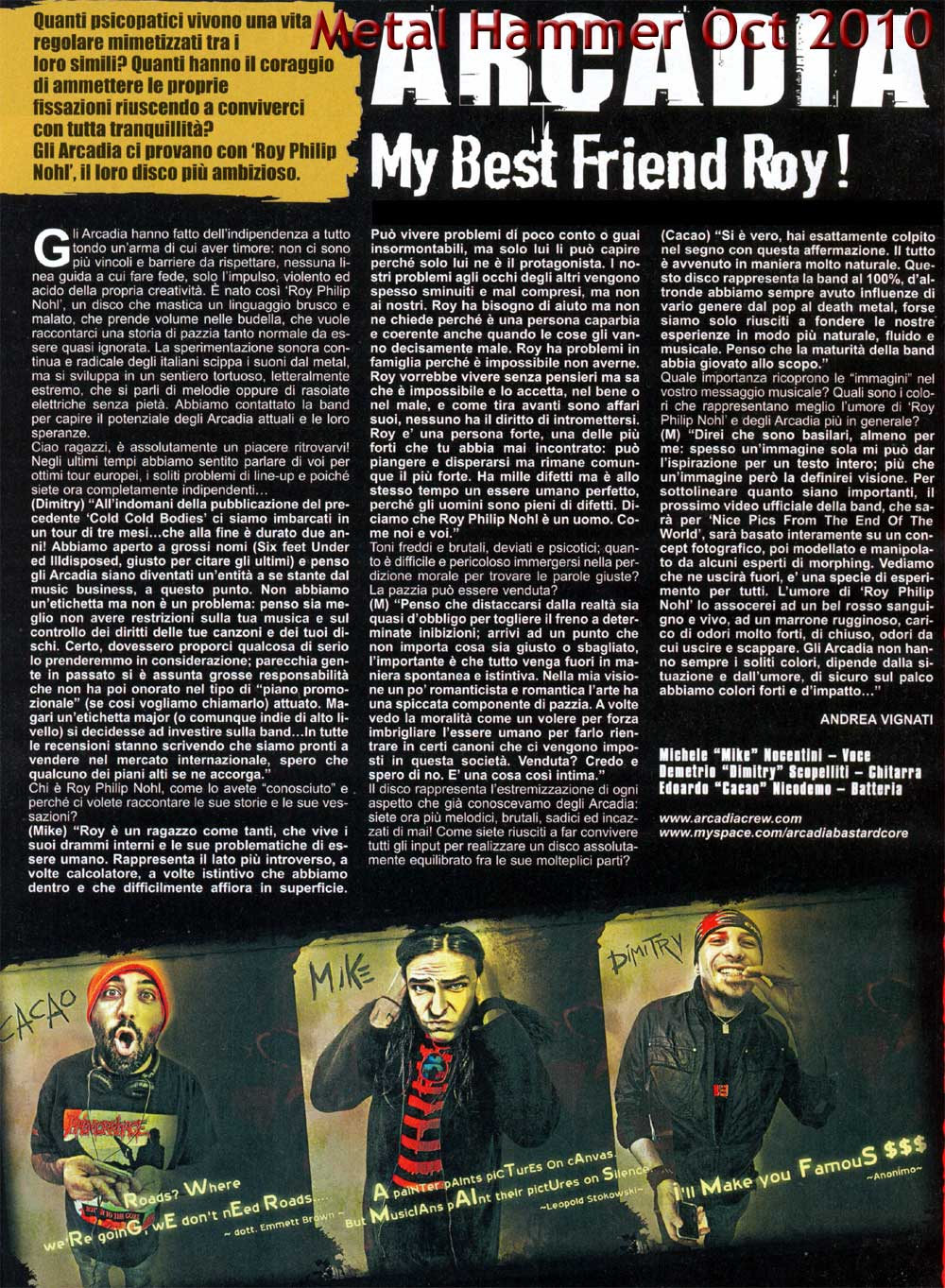 Arcadia Metal Hammer - October 2010