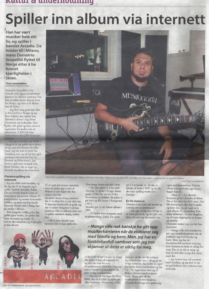 Article on Grenland local Avisa (Norwegian Newspaper), September 2012