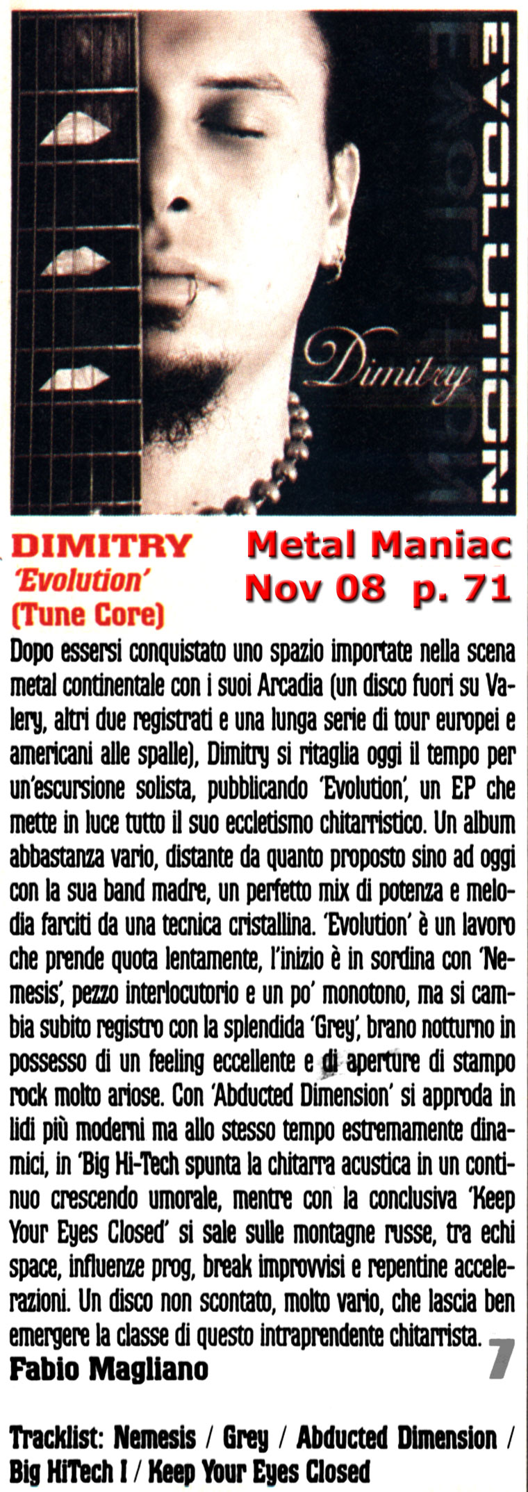 Evolution Review on Metal Maniac, Italy p. 71 - November 2008
