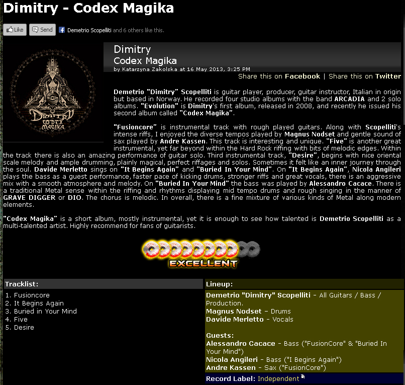 Dimitry's Codex Magika Review on Metal Temple - May 16, 2013