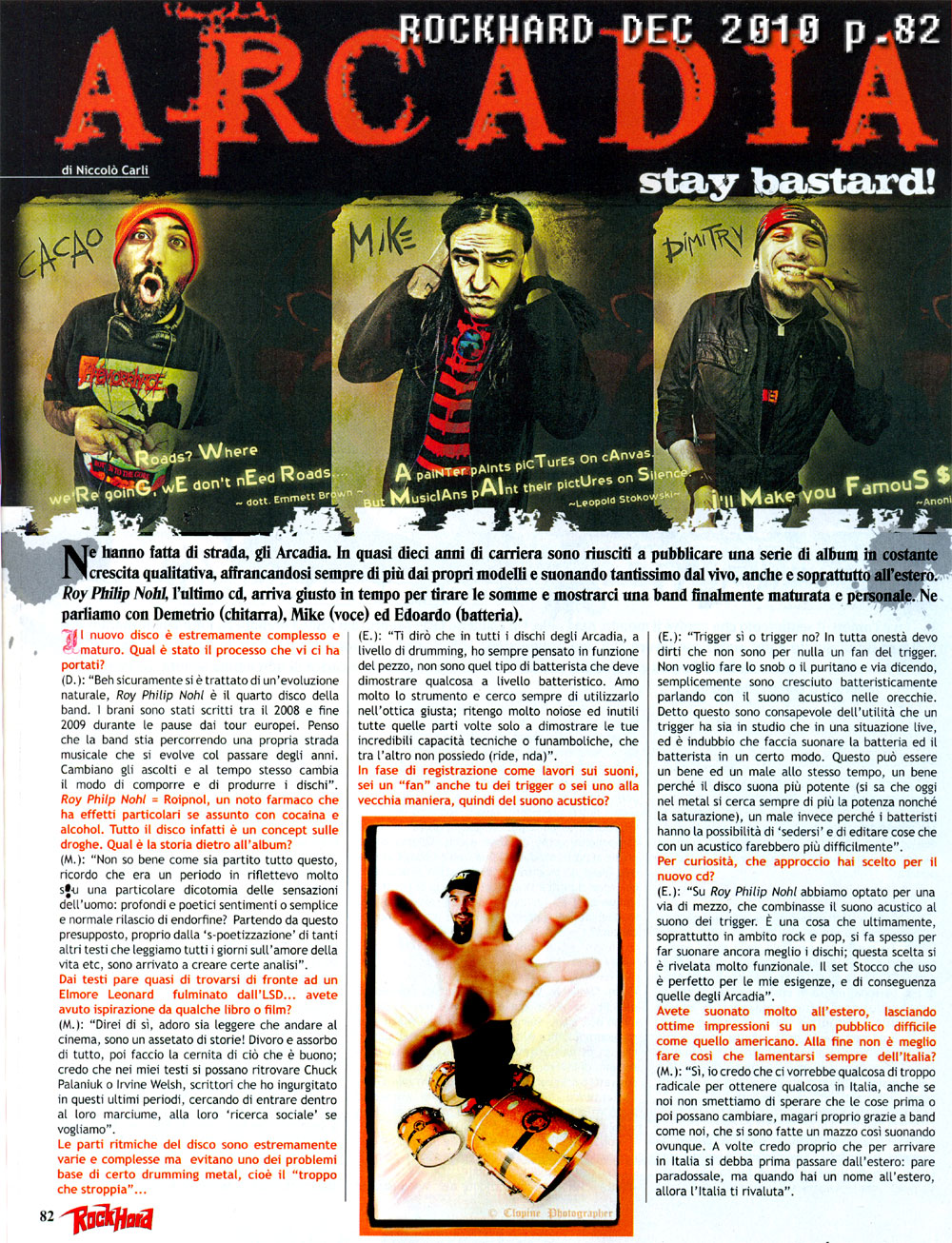 Interview with ARCADIA - Rock Hard Italy December <br>2010
