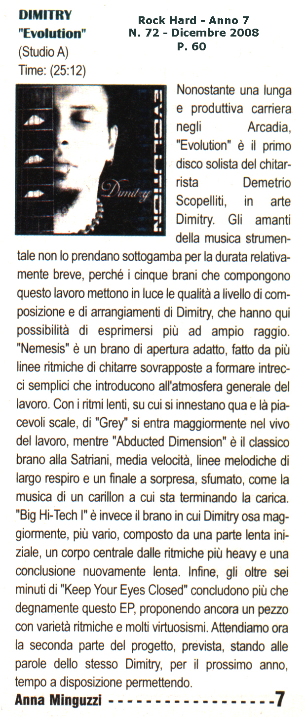 Dimitry «Evolution» (2008) on Rock Hard Italy Anno 7 N. 72 p. 60