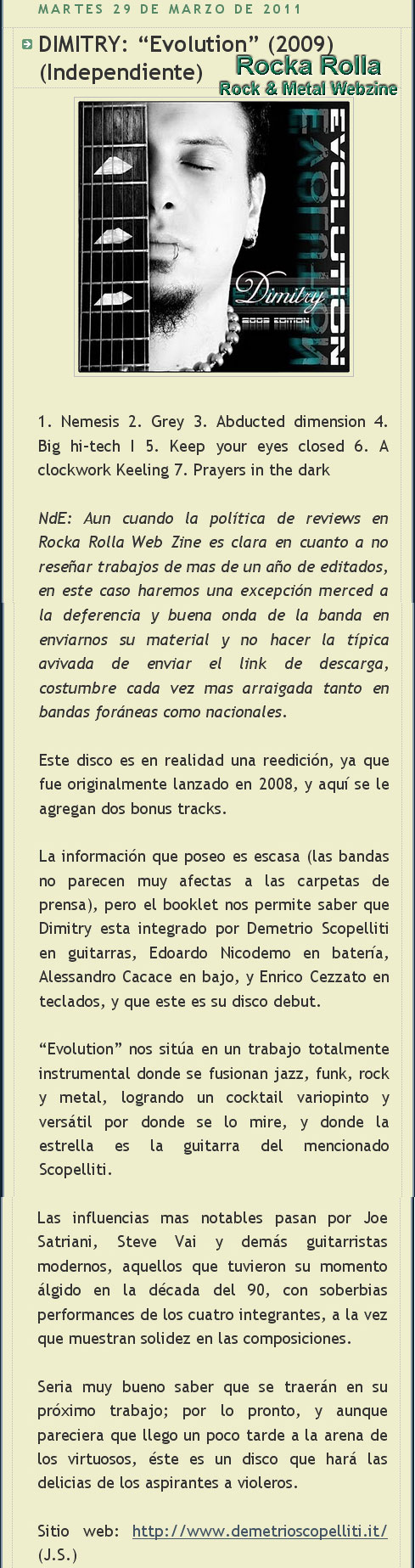 Evolution 2009 review - Rocka Rolla Webzine (ES) - March 2011