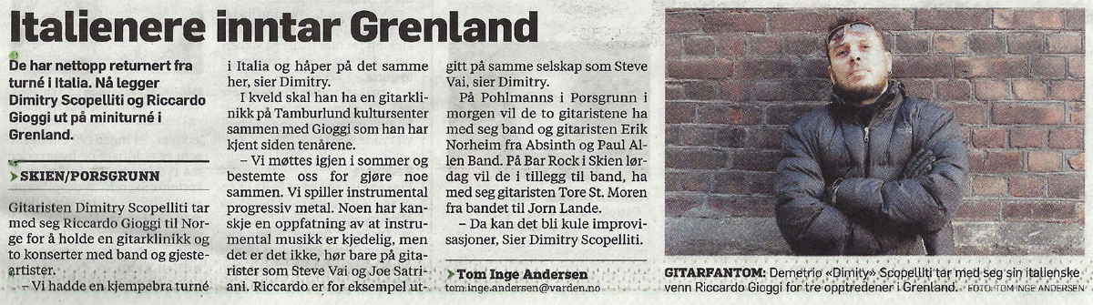 Article about Dimitry and the SGT Varden, Norwegian local newspaper - Dec 1<br>2, 2013