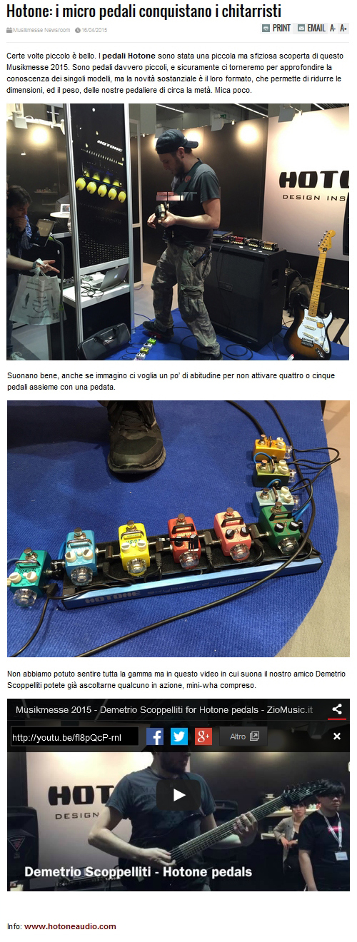 Article on ZioMusic.it about Dimitry's demos at Frankfurt Musikmesse 2015 a<br>nd Hotone pedals